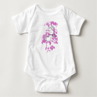 white bunny into pink foliage baby bodysuit