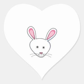 WHITE BUNNY RABBIT HEART STICKER