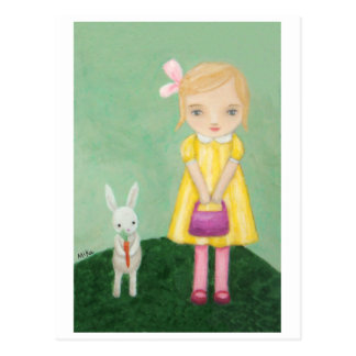 White Bunny Rabbit with Yellow Dress Girl Card