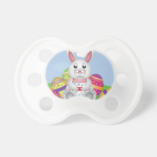 White bunny with Easter eggs 2 Pacifier
