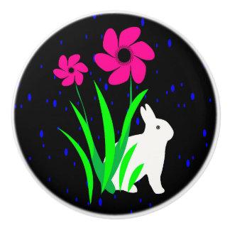 White Bunny with Flower Door Pull -Julie Everhart