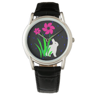 White Bunny with Flowers Fashion Watch by Julie