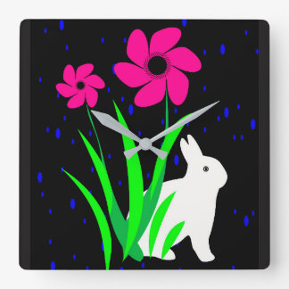White Bunny with Flowers Wall Clock by Julie