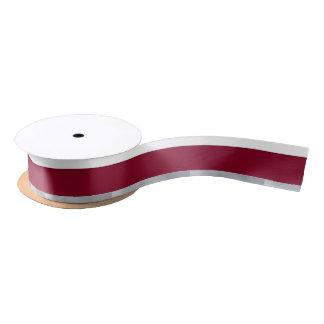 White Burgundy and Silver Striped Satin Ribbon