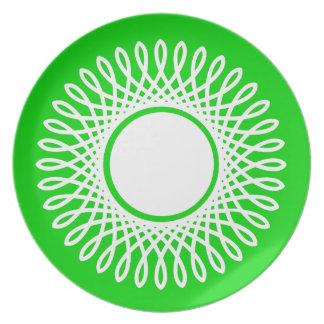 White Burst on Summer Green Plate