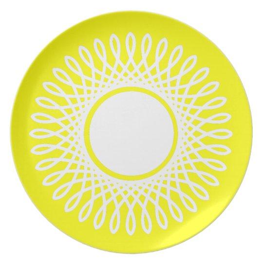 White Burst on Sunshine Yellow Plate