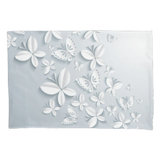 White Butterflies (2 sides) Pillowcase