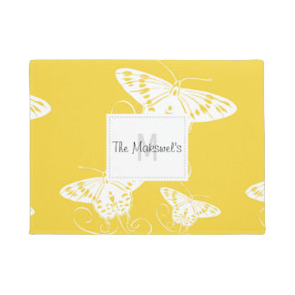 White Butterflies Bright Yellow Background Doormat