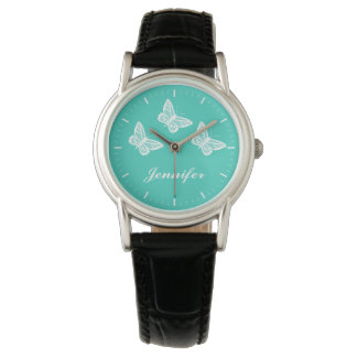 White Butterflies On Turquoise And Custom Name Watch