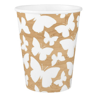 White Butterflies Pattern on Faux Wood Rustic Cups Paper Cup