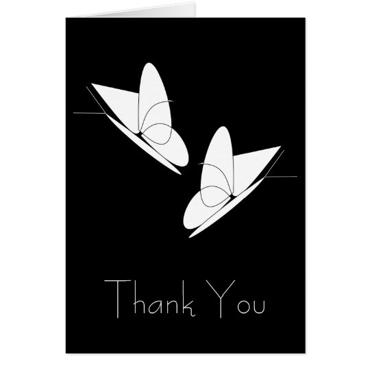 White Butterflies Thank You Card