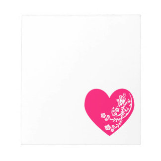 White Butterfly Bright Pink Heart Notepad