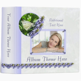 White Butterfly Garden Custom Theme and Photo 3 Ring Binders