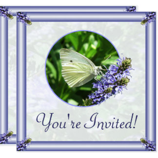 White Butterfly Garden Easter Party Invitations