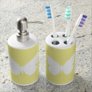 White Butterfly on Butter Yellow Bath Accessory Sets
