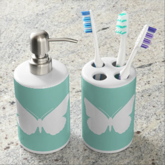 White Butterfly on Cool Aqua Soap Dispenser And Toothbrush Holder