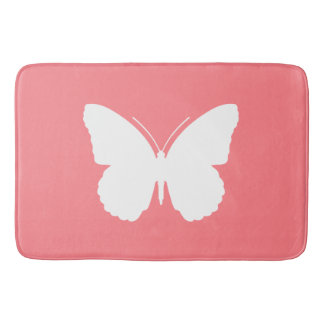 White Butterfly on Coral Pink Bath Mat
