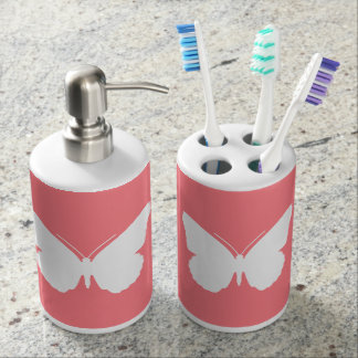 White Butterfly on Coral Pink Bathroom Set