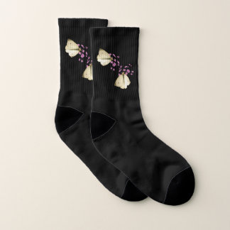 White Butterfly on Pink Flowers Floral Socks 1
