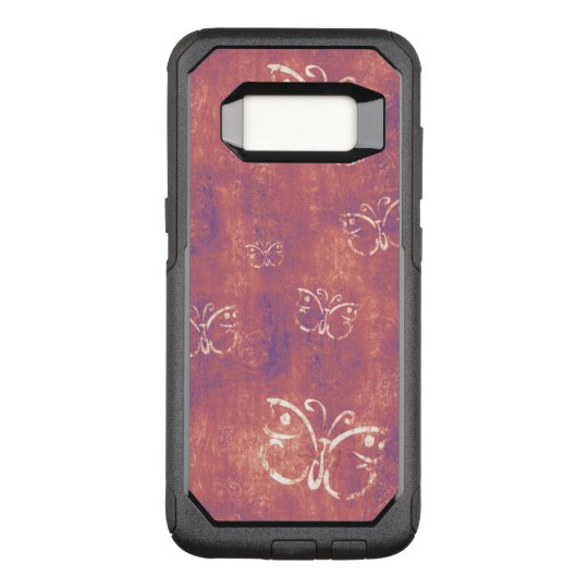 White Butterfly Pattern on Purple and Pink OtterBox Commuter Samsung Galaxy S8 Case
