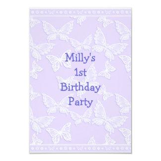 "White Butterfly Pretty Blue Grey 1st Birthday Part 3.5"" X 5"" Invitation Card"
