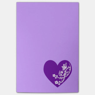 White Butterfly Violet Purple Heart Post-it Notes