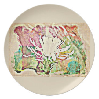 White Cactus Bloom in Chromatic Melamine Plate