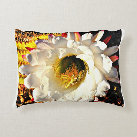 White Cactus Bloom On Home Decor Pillow