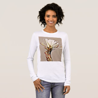 White Cactus Bloom on Tan Women's Long Sleeve Tee