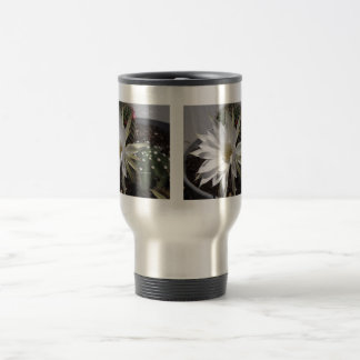 White Cactus Flower Bloom Travel Mug