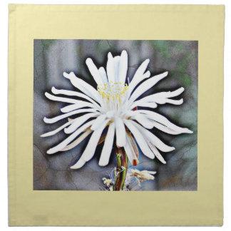 White Cactus Flower Dinner Cloth Napkins