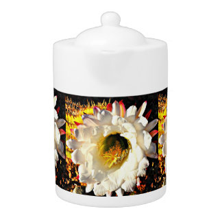 White Cactus Flower Tea Pot