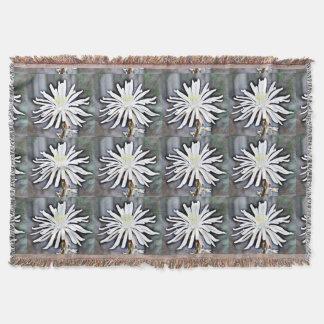 White Cactus Flower Throw Blanket