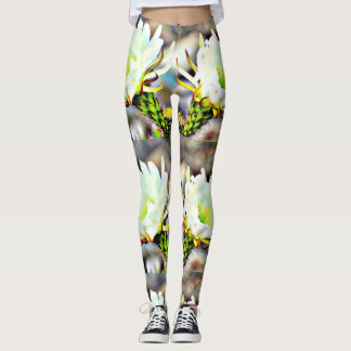 White Cactus Flower Women's Leggings