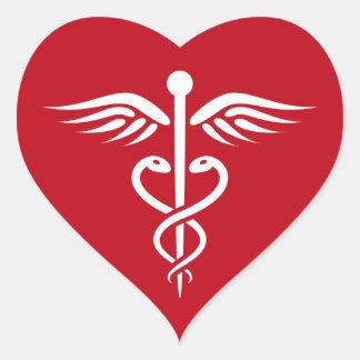 White caduceus logo on red doctor nurse sticker