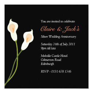White Calla Lilies Anniversary Party -black Card