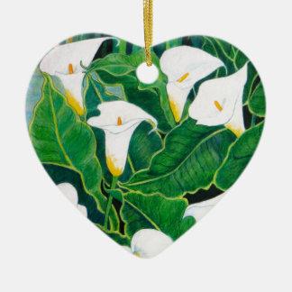 White Calla Lilies Ceramic Ornament
