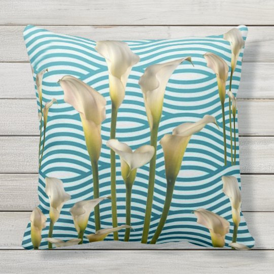 White Calla Lilies in Water Throw Pillow