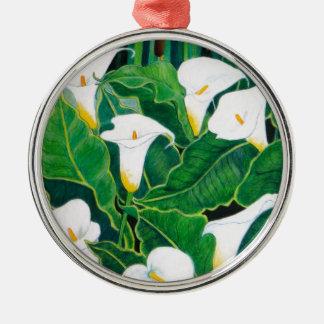 White Calla Lilies Metal Ornament