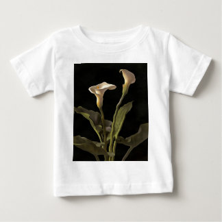 White Calla Lilies On A Black Background Baby T-Shirt