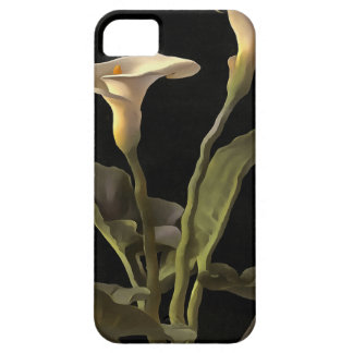 White Calla Lilies On A Black Background iPhone 5 Cases