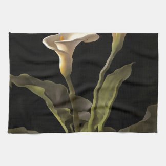 White Calla Lilies On A Black Background Kitchen Towel