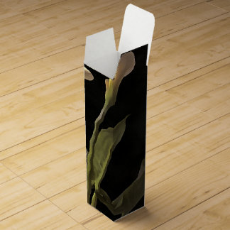 White Calla Lilies On A Black Background Wine Bottle Boxes