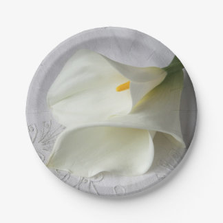 White calla lilies on linen 7 inch paper plate