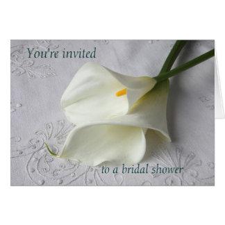 white calla lilies on linen bridal shower invite