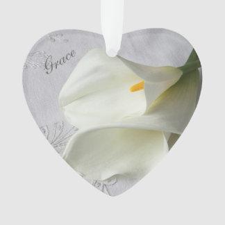 White calla lilies on linen ornament