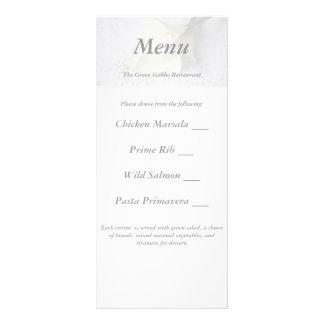 white calla lilies on linen wedding menu card