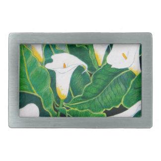 White Calla Lilies Rectangular Belt Buckles
