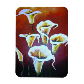 White Calla Lilies Rectangular Photo Magnet