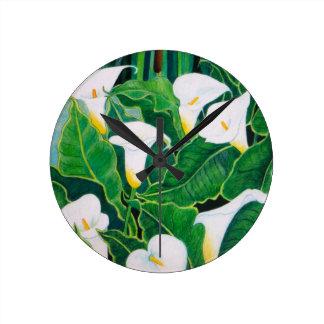 White Calla Lilies Round Clock